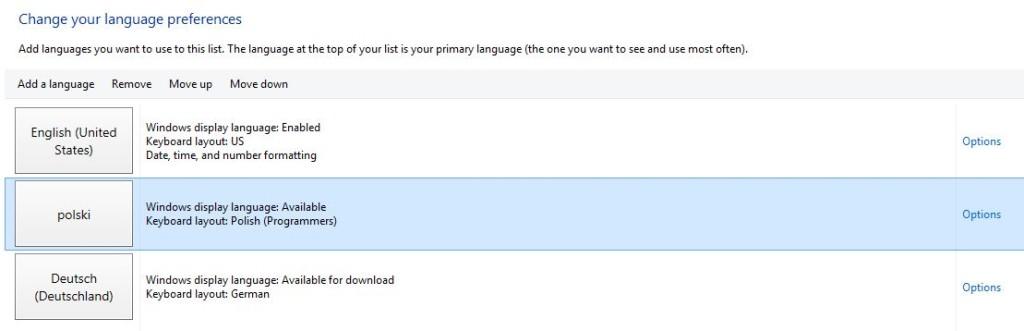change your language preferences options