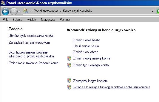 panel sterowania konta użytkowników