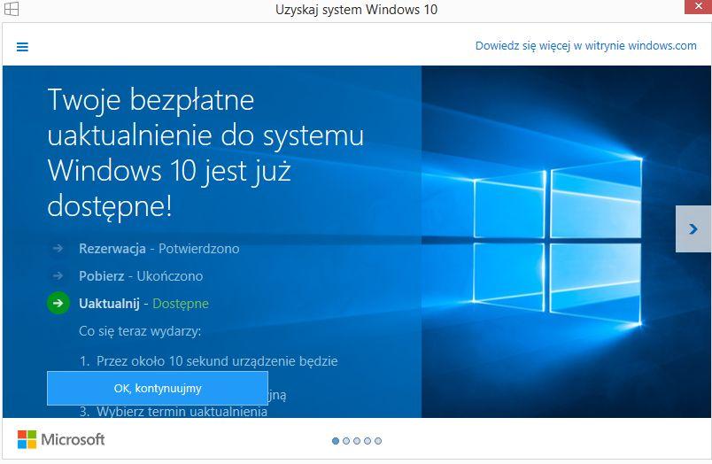 uaktualnienie do windows 10