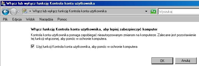 włącz lub wyłącz funkcę Kontrola konta użytkownika