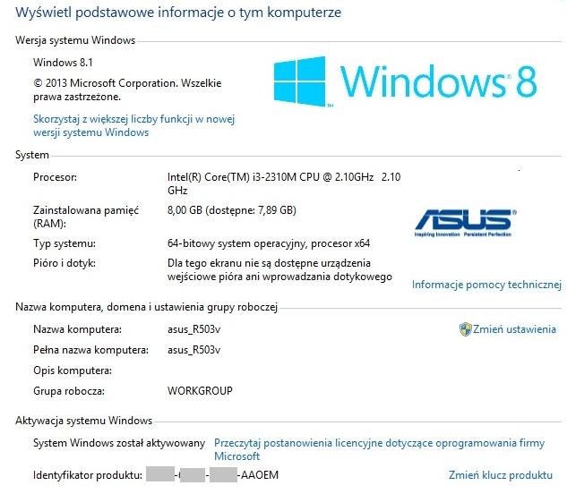 Parametry sprzętowe w Windows 8