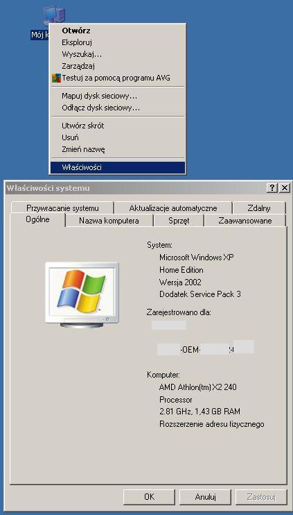 Parametry systemu Windows XP