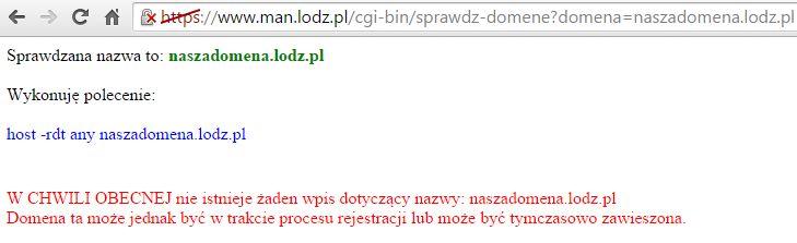 Wynik zwracany przez stronę gdy domena nie jest zajęta, możemy rozpocząć jej rejestrację!