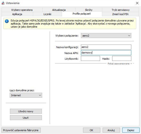 modem MF669 instalacja aero2 tworzenie nowego profilu