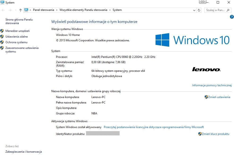 informacje o systemie windows10