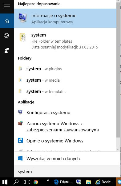 szukaj system windows 10