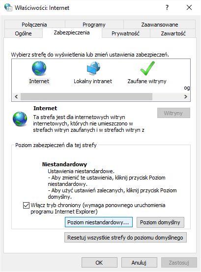 właściwości Internet Zabezpieczenia poziom niestandardowy