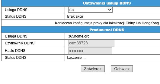 ustawienia DDNS kamery